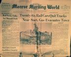 Start Train Derailment, Twenty-Six Rail Cars Quit Tracks Near Start, Gas Evacuates Town Monroe Morning World, Monday, December 1, 1969