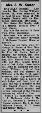 Mrs. Earline Williams Sartor (1891-1963)