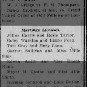 Marriage license applications for Garrett Sullivan and Lillie Sims